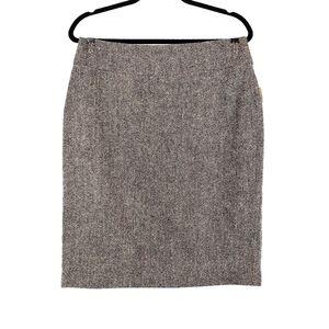 CABI Taupe Black Tweed Wool Pencil Skirt 8